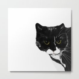 Curious Black Cat on White Background  #decor #society6 #buyart Metal Print