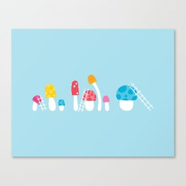 Mushroom Maintenance Blue Canvas Print