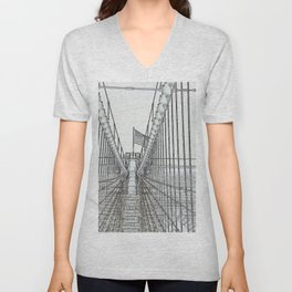 Brooklyn Bridge Cables Abstract Unisex V-Neck