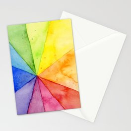 Rainbow Watercolor Geometric Pattern Stationery Cards