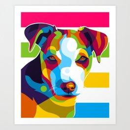 Colorful Dog Face Art Print
