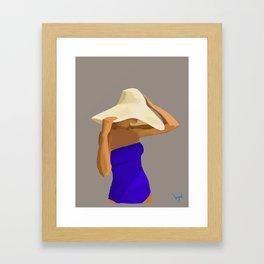 At The Beach: Blue Suit Framed Art Print