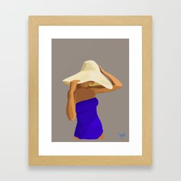 At The Beach: Blue Suit Framed Art Print