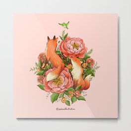 The Red Foxes and Coral Sunset Peonies Metal Print