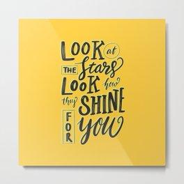 Look at the stars - Yellow Metal Print
