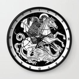 SIC SEMPER DRACONIS - B&W Wall Clock