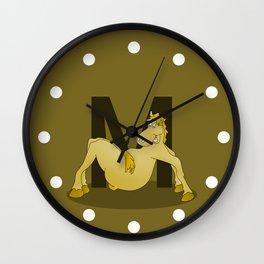Pony Monogram Letter m Wall Clock