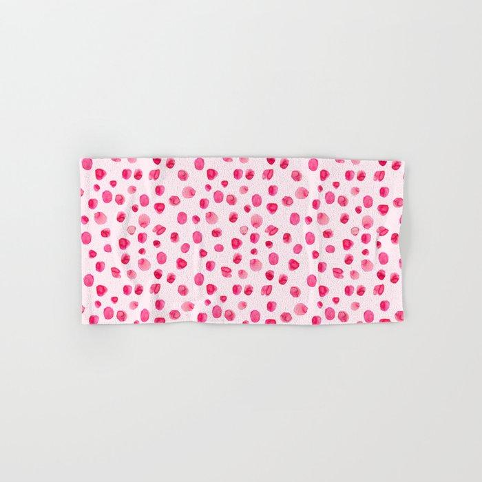 Think pink || Watercolor brushstrokes pattern Hand & Bath Towel