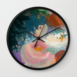 Sweet Nothings: a colorful floral abstract in pinks, reds, blues, and white Wall Clock