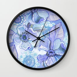 Lil' Garden Party in Blue Wall Clock