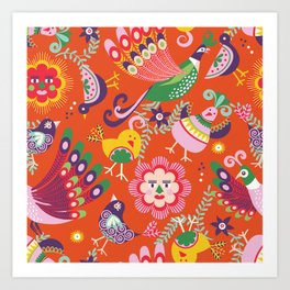 Scandinavian folkart birdies | orange Art Print