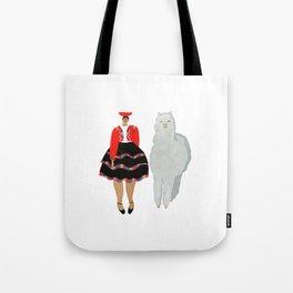 Peruvian Girl and Friend Tote Bag