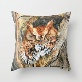 Woodland Screech by Teresa Thompson Throw Pillow