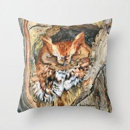 Woodland Screech by Teresa Thompson Throw Pillow