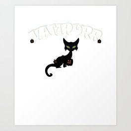 Vampurr Vampire Black Cat Pumpkin Halloween Art Print