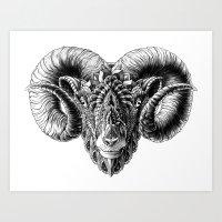 bioworkz Art Prints featuring Ram Head by BIOWORKZ
