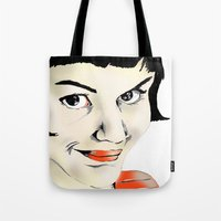 amelie Tote Bags featuring Amelie by Bubble Trump Ltd
