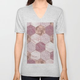 Pink marble honeycomb with rose gold accents Unisex V-Neck