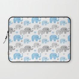 Blue Gray Elephant Baby Boy Nursery Laptop Sleeve