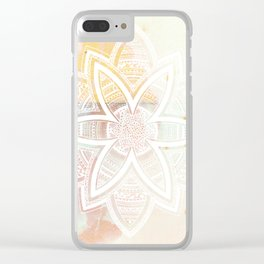 wholeness white mandala on pink Clear iPhone Case