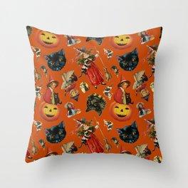 Vintage Black Cat Halloween Toss in Pumpkin Spice Throw Pillow