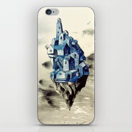 Blue town between the sky and the sea iPhone Skin