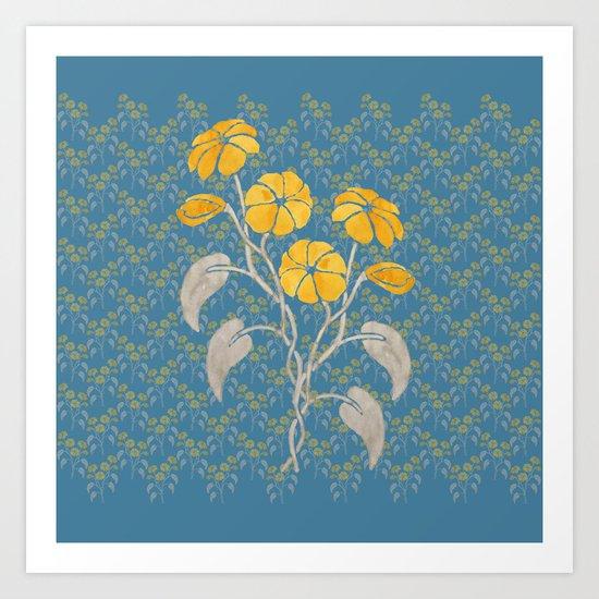 Flowers Blue Pattern Art Print