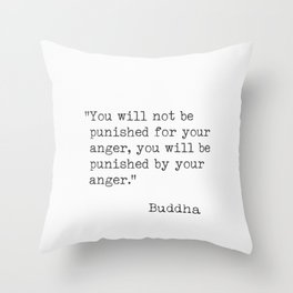 Buddha typed quotes Throw Pillow