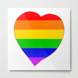 LGBT Rainbow Colors Heart Metal Print