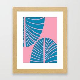 Blue Tropical Palm Minimal. Zen Art Framed Art Print