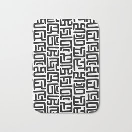 Black And White African Abstract Shapes Bath Mat