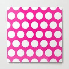 Big polka dots on deep pink Metal Print