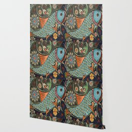 bohemian folk art orange aqua blue japanese good luck koi fish Wallpaper