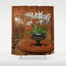 Flowers in Hotel Lobby Shower Curtain