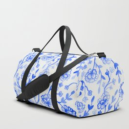 Watercolor Peonies - China Blue Duffle Bag