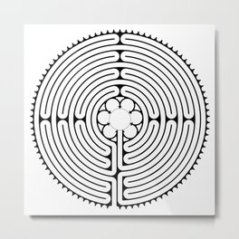 Cathedral of Our Lady of Chartres Labyrinth - Black Metal Print