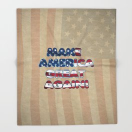 USA Flag MAKE AMERICA GREAT AGAIN typography Throw Blanket