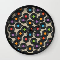 records Wall Clocks featuring Vinyl Records by PatternInk