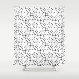 Decor with circles and hearts Shower Curtain