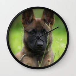 Cute Puppy Shepherd Face Wall Clock