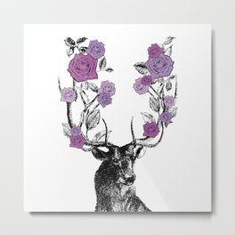 The Stag and Roses | Deer and Flowers | Purple | Vintage Stag | Vintage Deer | Antlers | Woodland | Metal Print