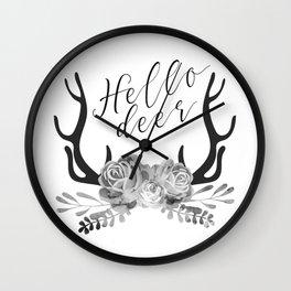 Hello Deer Antler Floral black & white minimalist nursery design Wall Clock