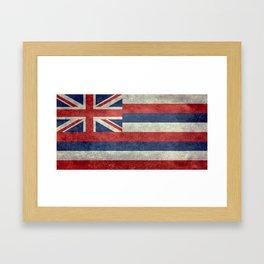The State flag of Hawaii - Vintage version Framed Art Print