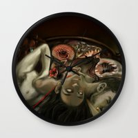 helen green Wall Clocks featuring Helen Vaughan by Sandpaperdaisy