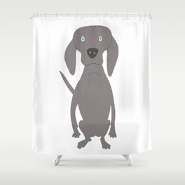 Weim I So Cute Grey Ghost Weimaraner Dog Hand-painted Drawing Shower Curtain