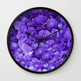 Amethyst  Hydrangea Flowers Garden Art Wall Clock