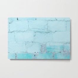 Painted Blue Wall Bricks Metal Print