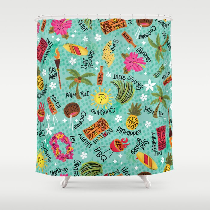 It's A Tiki Party! Shower Curtain