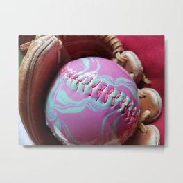 Pink and Green Softball and Glove Metal Print