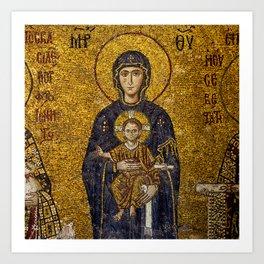 Mosaic Mary and Jesus Art Print
